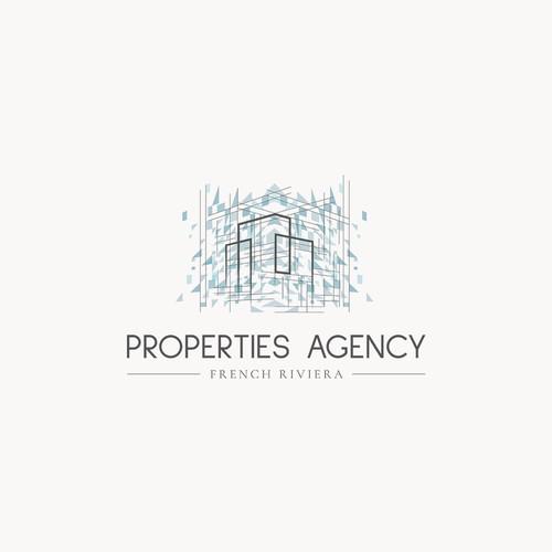 Un logo d'agence immobilière autour de l'atmosphère de la Côte D'Azur : Bleu et prestigieuse