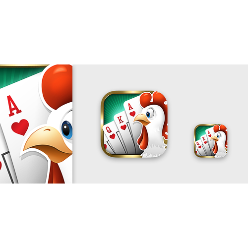 """Create an app icon for the """"Poker Chicken"""" mobile game"""