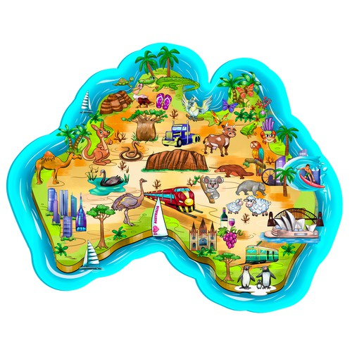 Map of the Australia and Travel Icons. Australia Travel Map.
