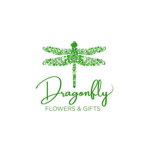Make an instantly recognizable logo for Dragonfly Flowers & Gifts.