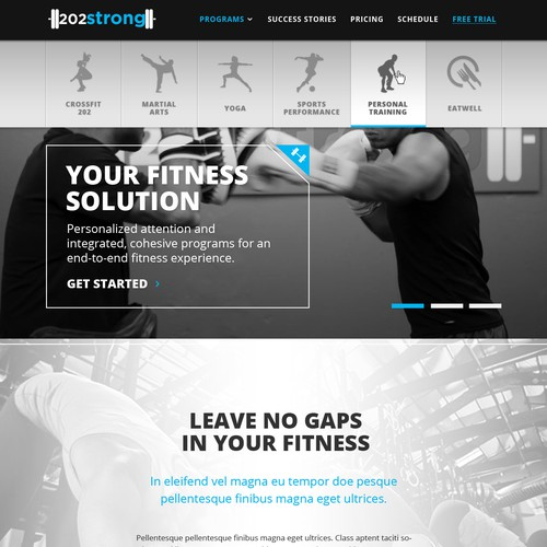 Webpage Design for Fitness Studio