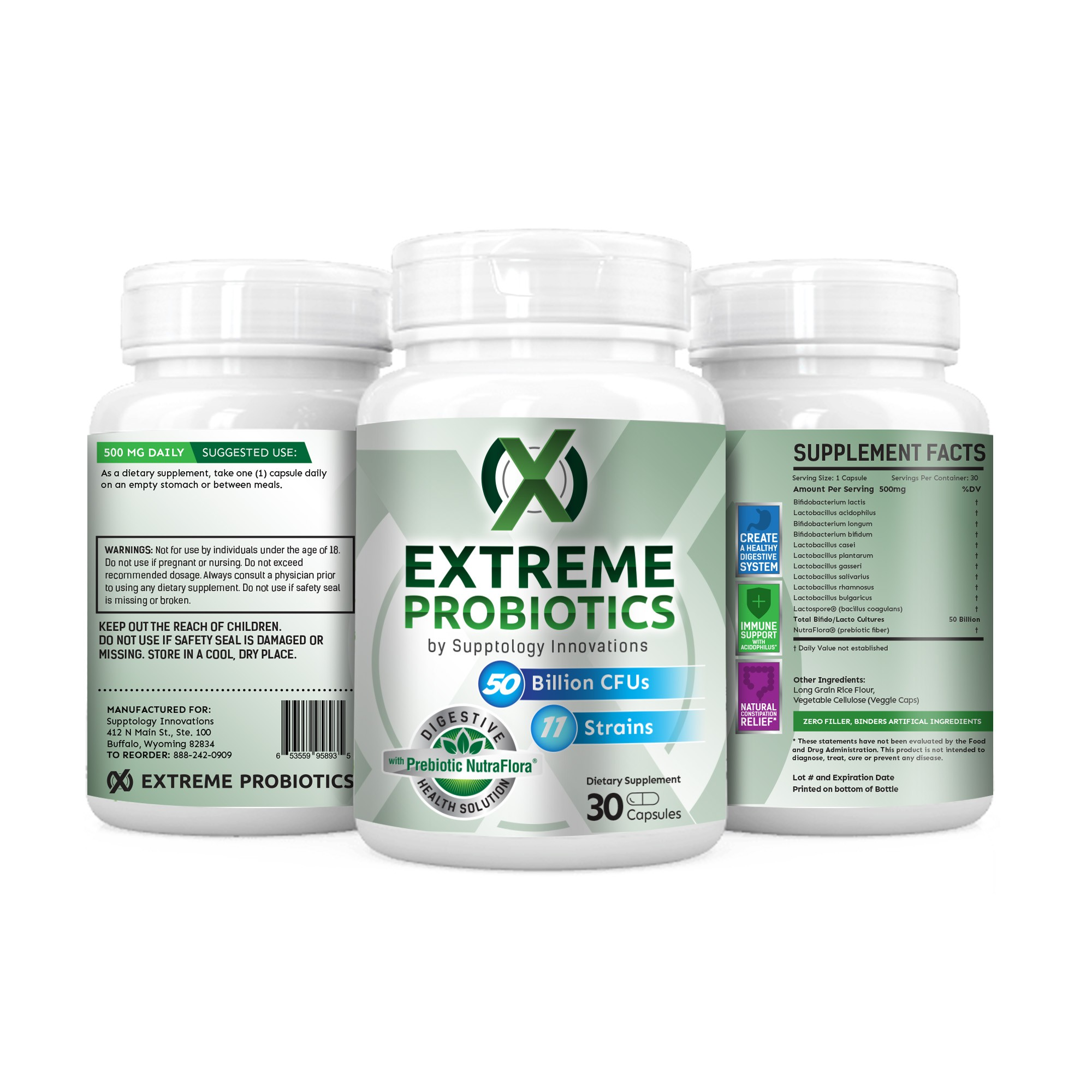 Create powerful label for Extreme Probiotic product.