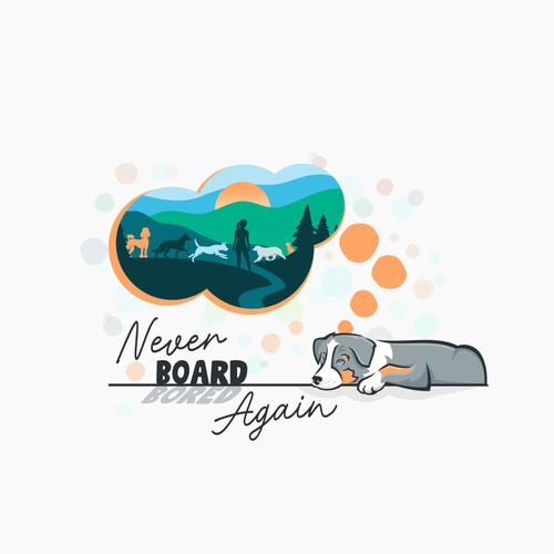 Illustrative, unique, colorful, dreamy logo of woman and her dog pack adventuring