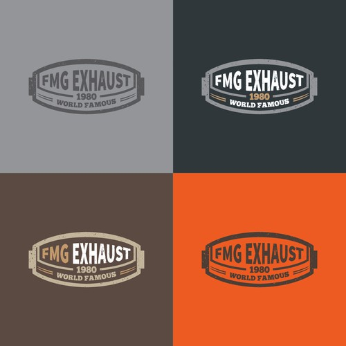 Vintage logo badge design for a muffler/ custom exhaust shop for the automotive industry.