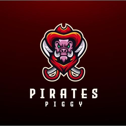 pirates pig mascot logo concept
