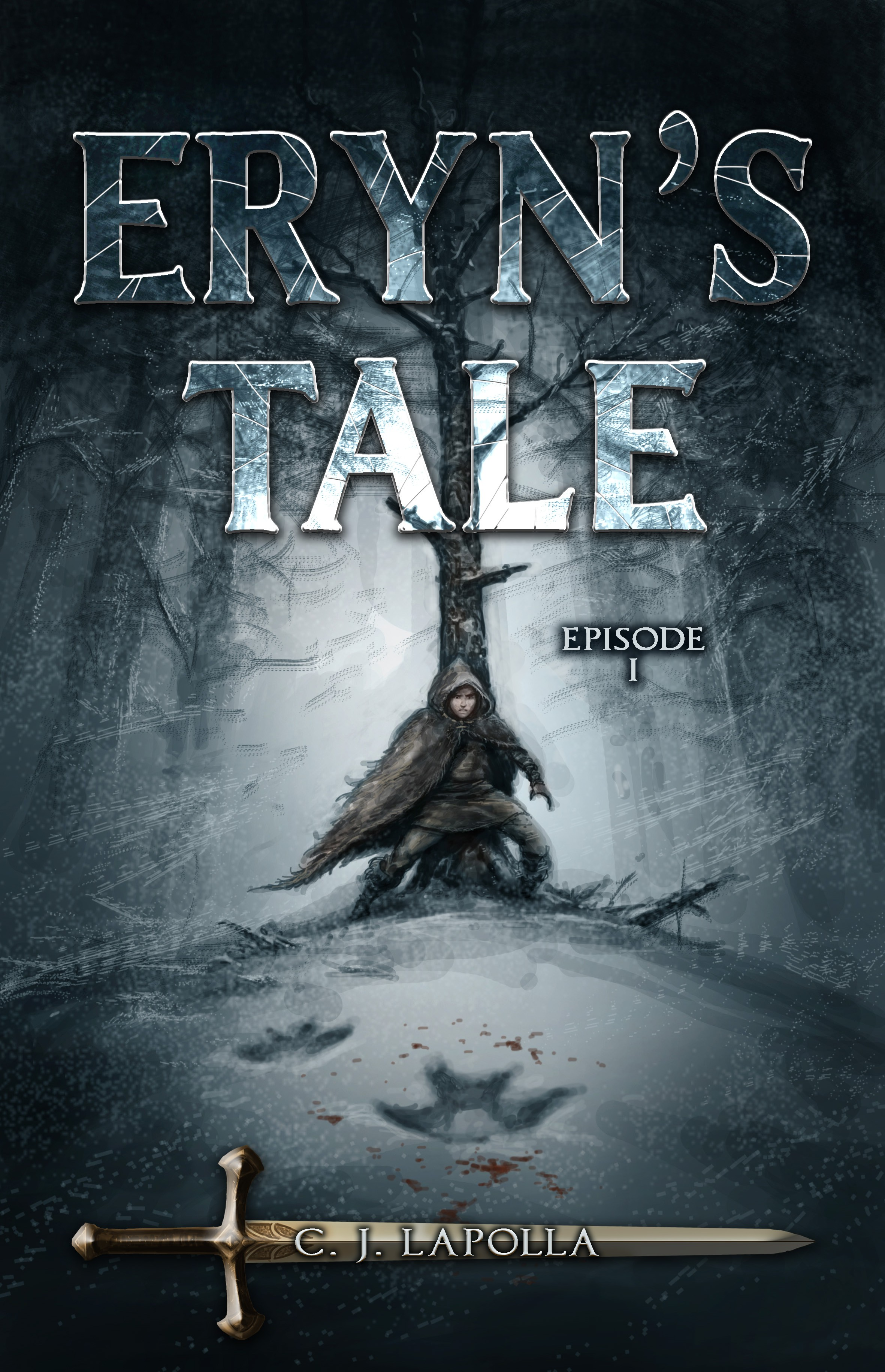 Create an eBook cover for a viking-like fantasy novel featuring an icy landscape