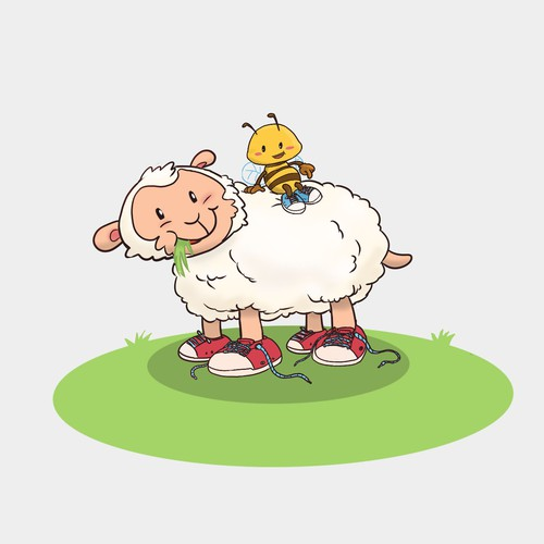 Lamb & Bee cartoon characters to help children learn to tie their shoes.