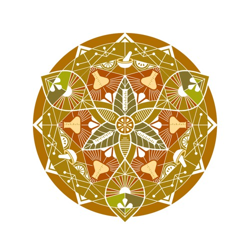 Mandala fusing scientific and indian traditional elements.