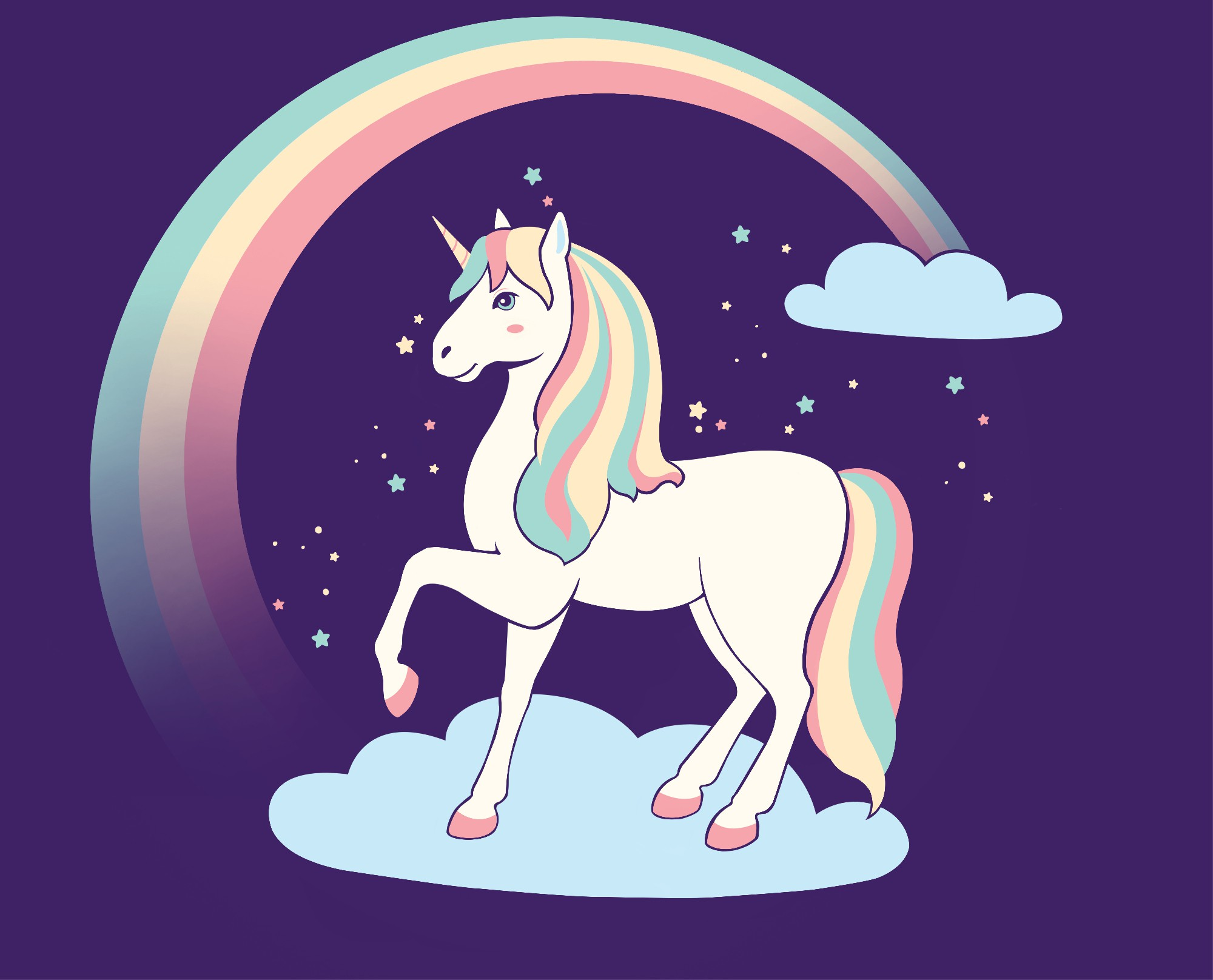 Create a unicorn illustration for a drinking bottle