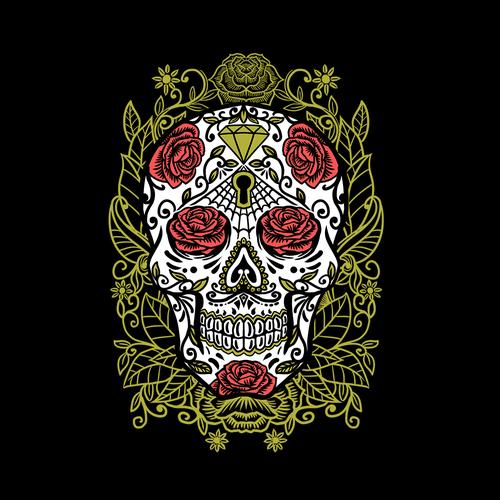 Red roses sugar sskull