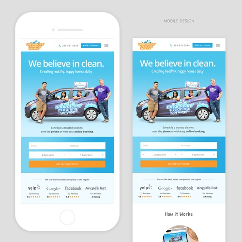 Mobile design for Home Cleaning Company