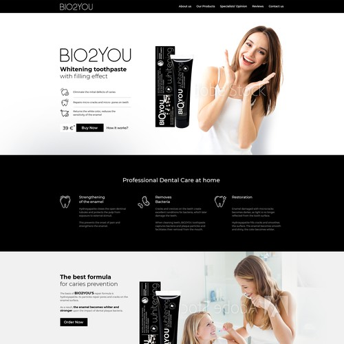 Webpage design for a toothpaste company