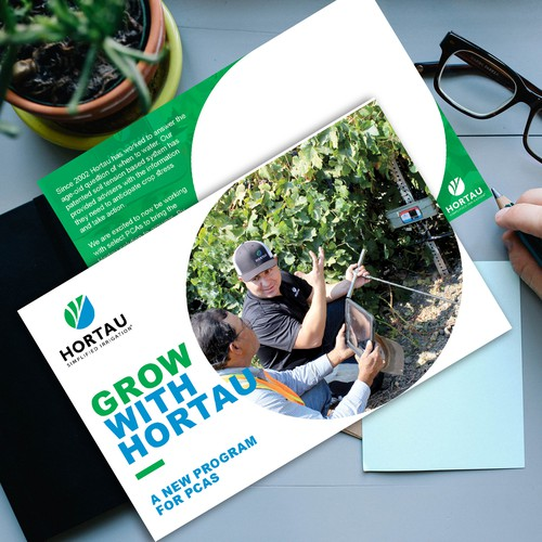 Design a postcard for an Agtech company looking to bring sustainability in agriculture