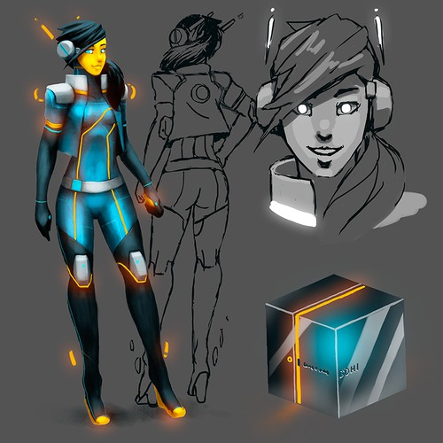 Create a character concept for an female teenage Artificial Intelligence who could change the world.