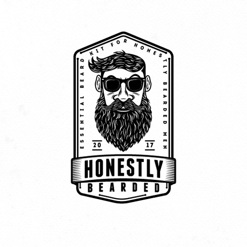 Hipster logo for beard cosmetics.