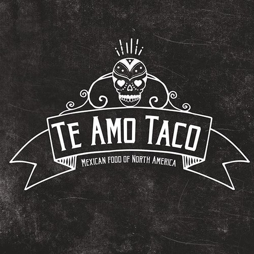 Create a Mexican food blog logo with skull