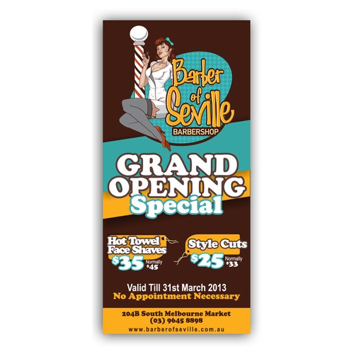 Barber Of Seville Barbershop needs a new postcard or flyer