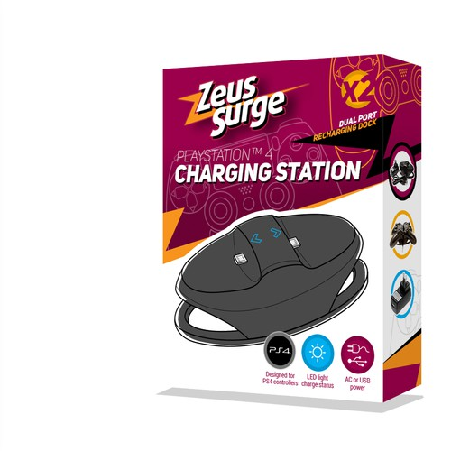Packaging Design For Playstation 4 Charging Station Device
