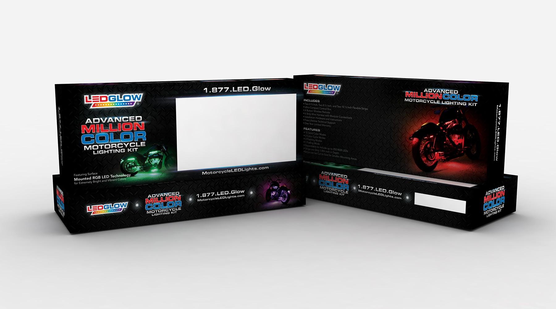 Design LEDGlow's MIllion Color Motorcycle Lighting Kit Packaging