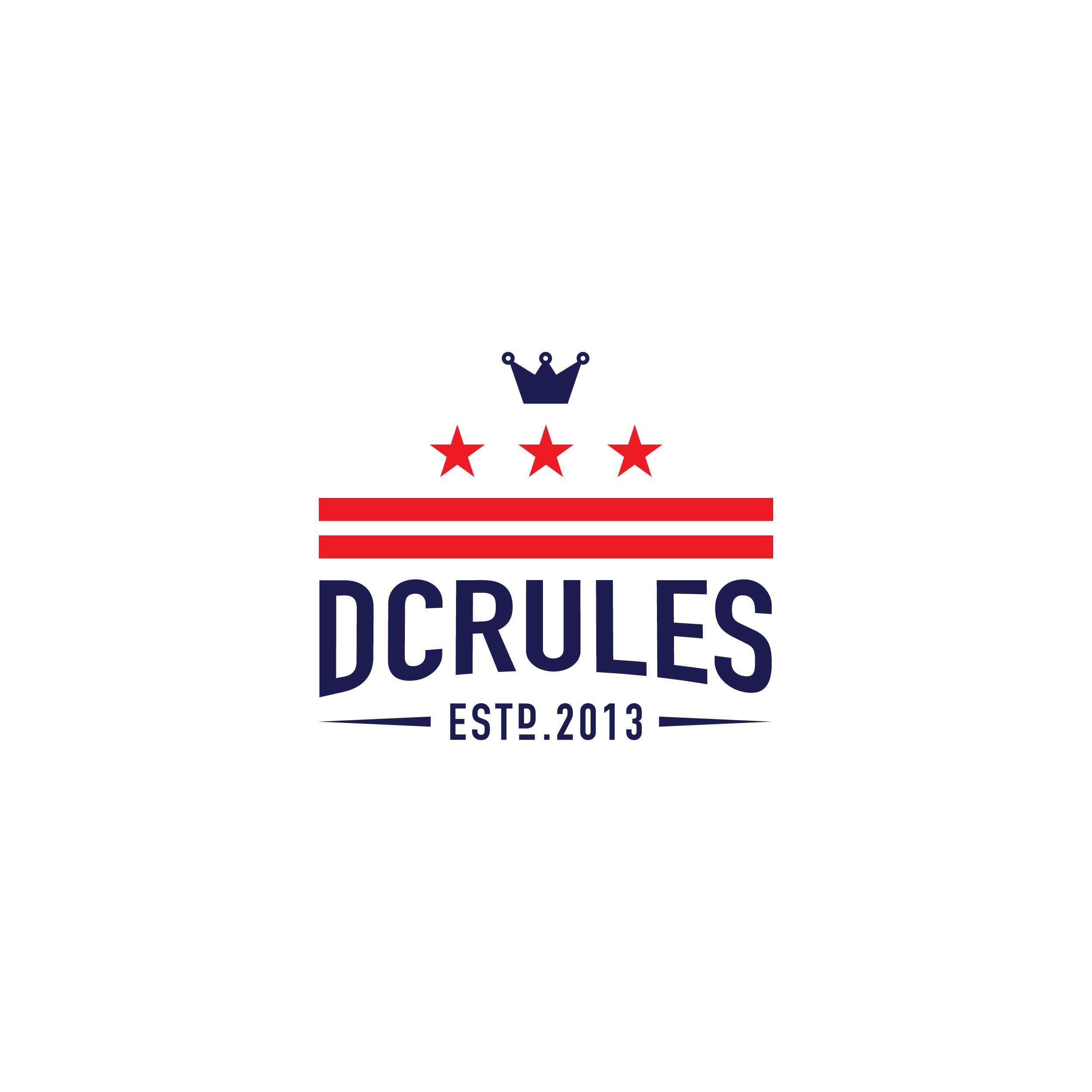 Create a vintage/hipster logo for DCRULES based on the DC State flag.