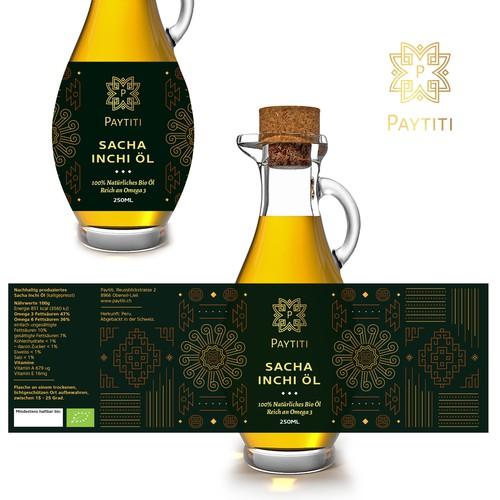 Bespoke Peruvian Patterned Oil Bottle Label