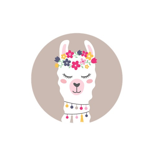 llama with flower crown