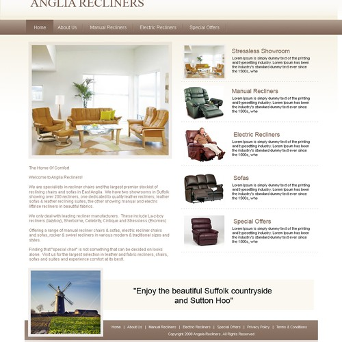Homepage design for recliner chair store