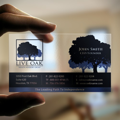 Transparent card for Live Oak