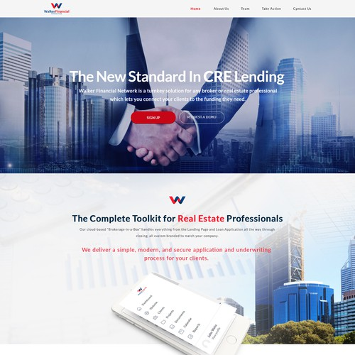 "Logo & Landing Page - Walker Financial Network - ""A new standard in CRE lending"""