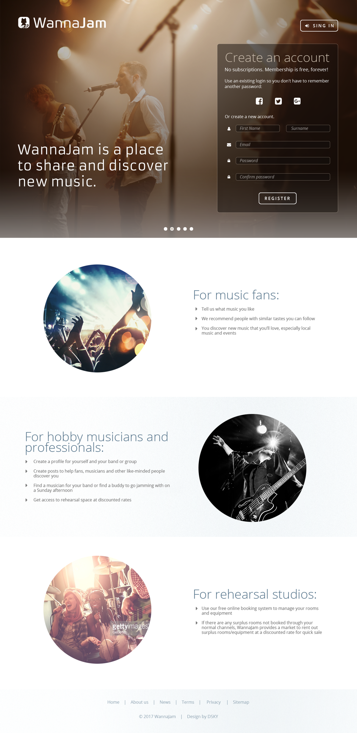WannaJam website phase 1 design