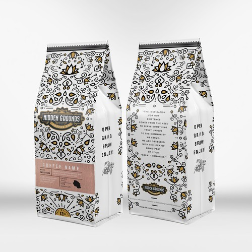 Hidden Grounds Coffee Packaging