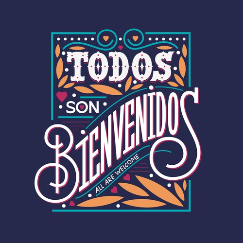 Fun typographic composition for Latin American market