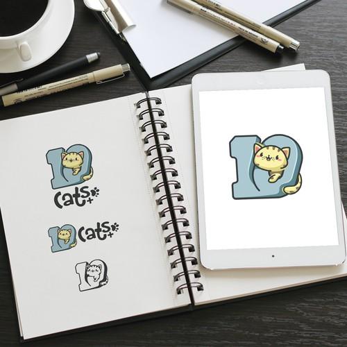 Kawaii Cat Logo Design for 10Cats.+