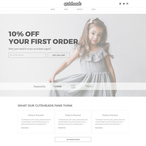 Clean and Minimalist Design Approach for Children's Fashion Website