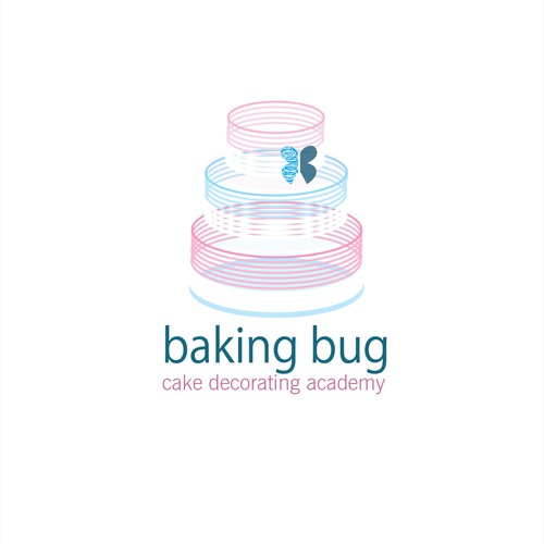 Create a contemporary and vibrant logo for Baking Bug Cake Decorating Academy