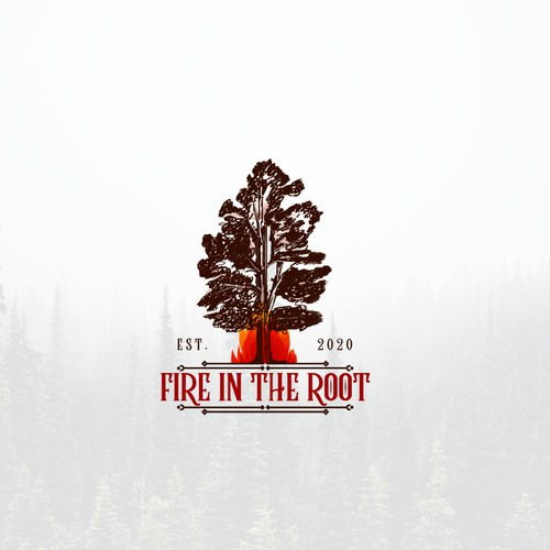 Fire in the Root logo design for fire agencies promoting FIRE ADAPTED COMMUNITY EFFORTS