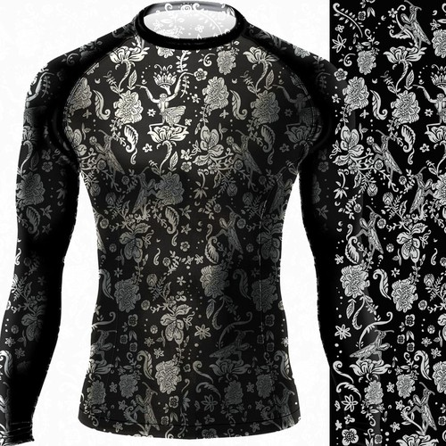 stylish floral rash guard for MMA