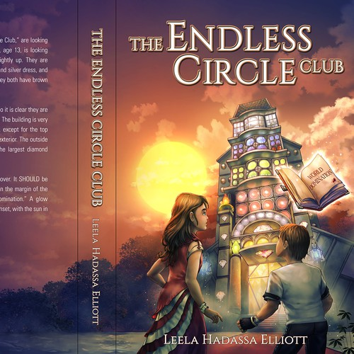 "Book cover design for a children's fantasy adventure book titled, ""The Endless Circle Club"" by Leela Hadassa Elliott."