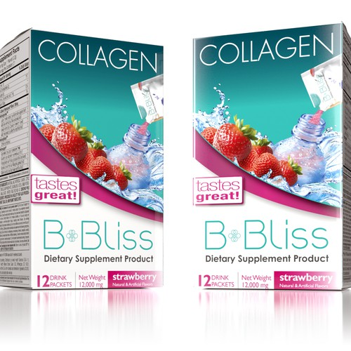 "Please help improve packaging for ""B-Bliss"" Collagen powder product."