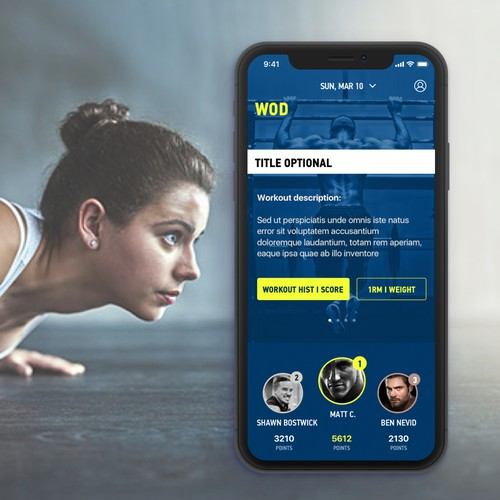 Workout app design