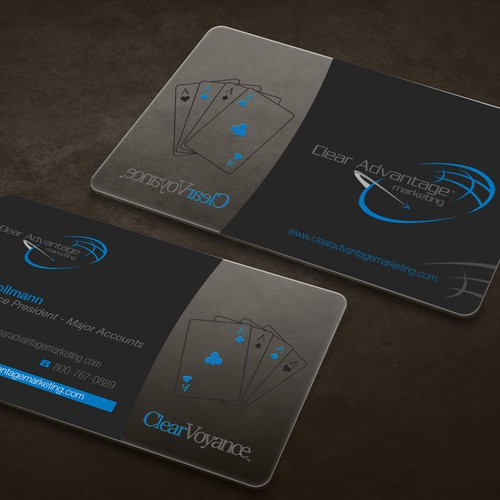 Clean Design for a potentially clear or frosted card.  Software development for the casino industry.