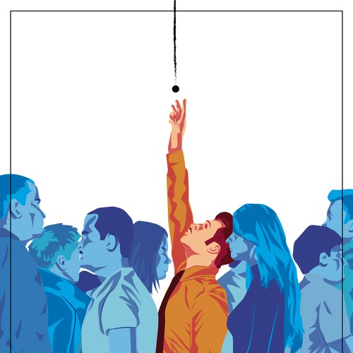 Illustration to communicate theme of information elicitation for mag front cover