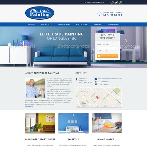 Design a clean & fresh landing page for Elite Trade Painting