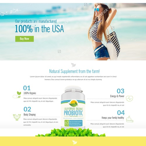 Landing page for California Balance Probiotic brand