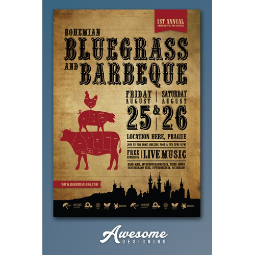 Create a vintage Americana flyer for a BBQ/Bluegrass festival in Prague