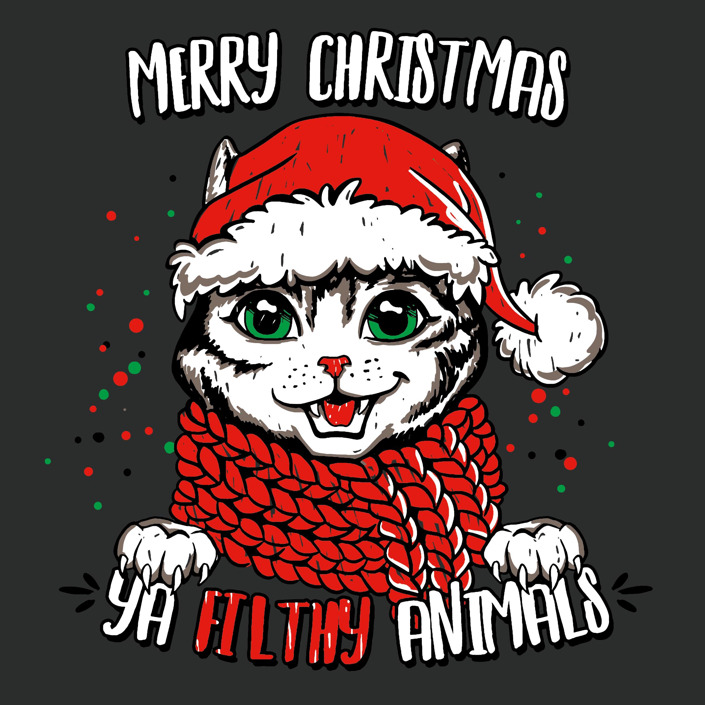 MERRY CHRISTMAS YA FILTHY ANIMALS (Cat & dog Christmas Shirt Design)