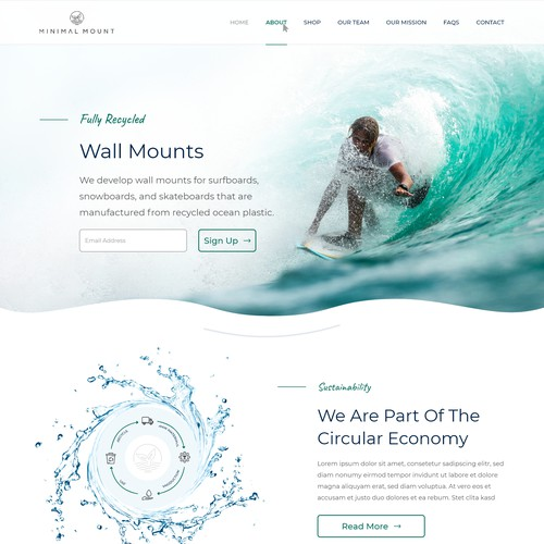 Minimal Recycled Wall Mounts Website Design