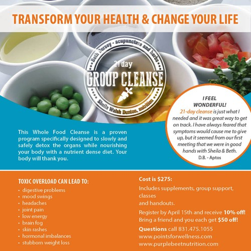 Ready to feel great?  I need YOU to help me create a whole foods cleanse flyer!