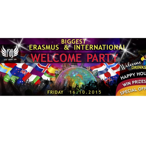 Facebook cover for Erasmus & international students party