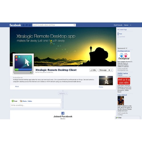 Your help is requires for a new Facebook  cover image for a product
